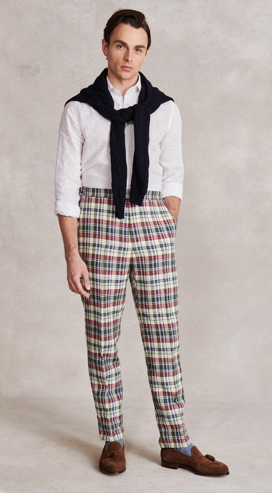 Multi Check Flat Front Linen Trousers