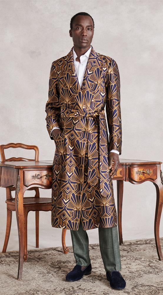 Navy & Gold Art Deco Unlined Silk Dressing Gown