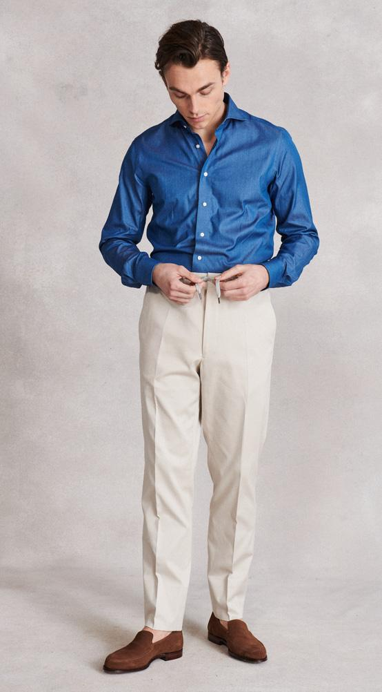 Stone Flat Front Drawstring Trousers