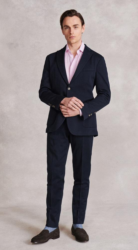 Navy Single Breasted Deconstructed Jersey Jacket & Trousers