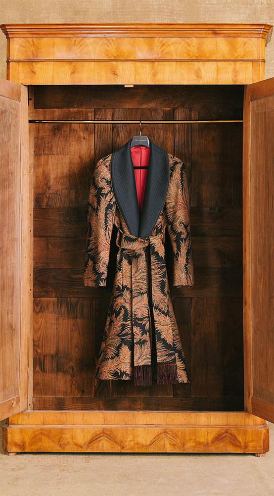 Gold Leaves Lined Dressing Gown