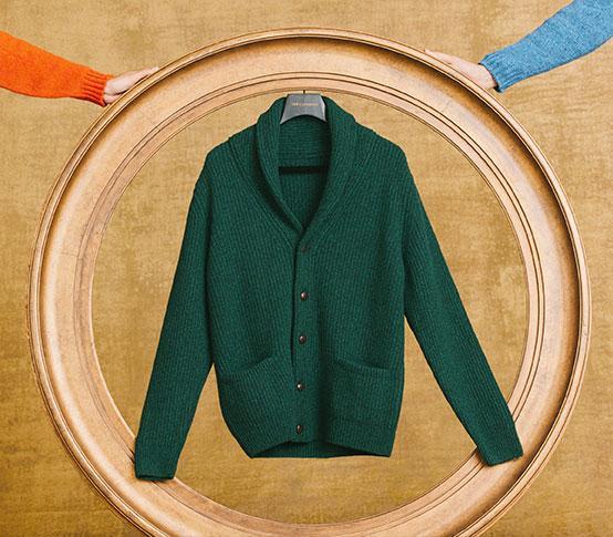 Green Lambswool Shawl Collar Cardigan