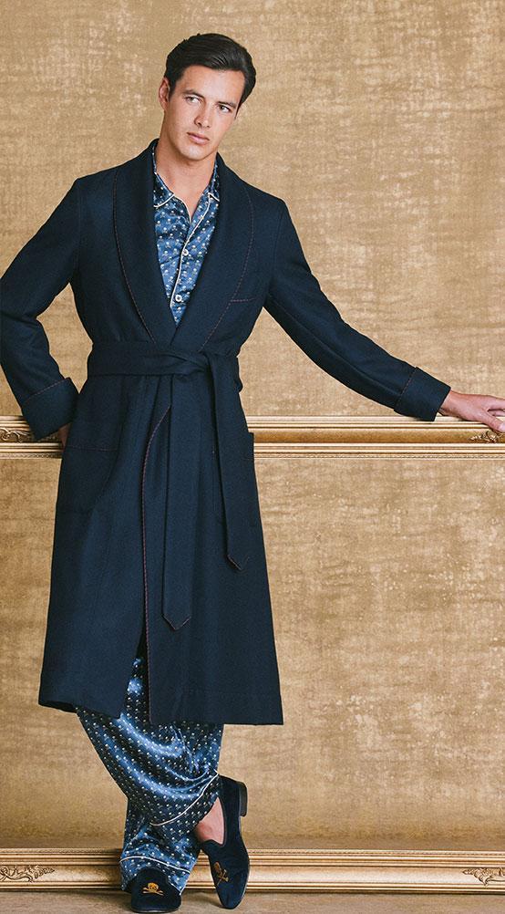 Navy Herringbone Cashmere Dressing Gown