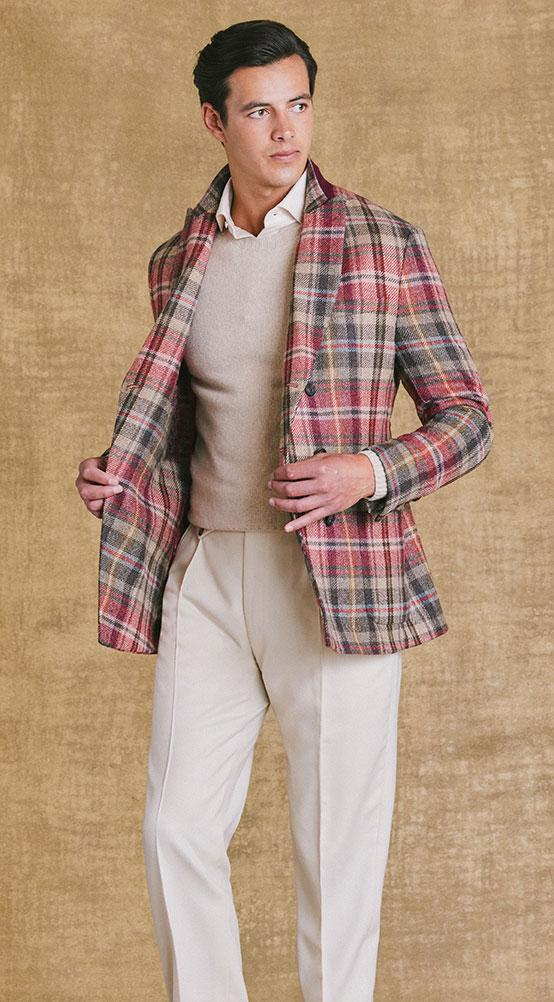 Pink Large Check Tweed Double Breasted Deconstructed Jacket
