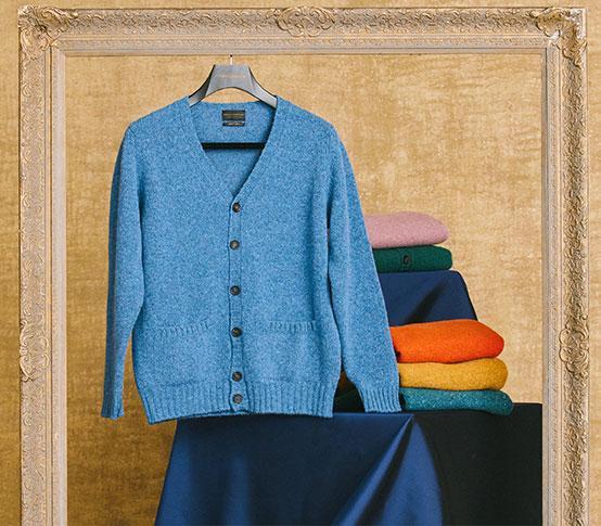 Blue Shetland Wool Cardigan