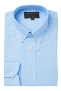 Blue Button Down Collar Tailored Fit Oxford Cotton Shirt