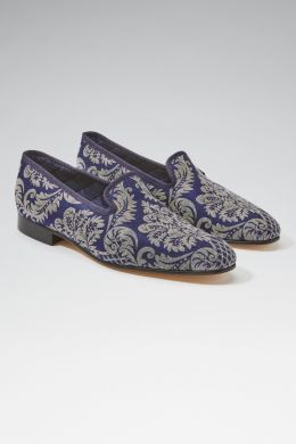 Navy Cream Renaissance Silk Jacquard Slippers